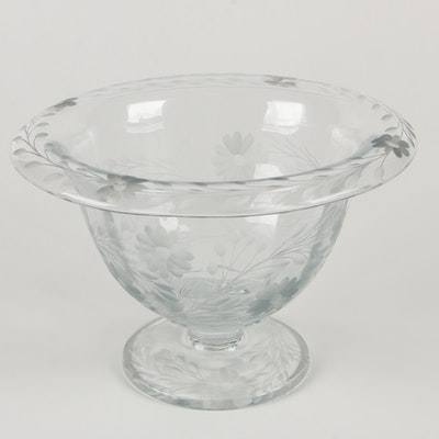 Floral Etched Glass Centerpiece Vase