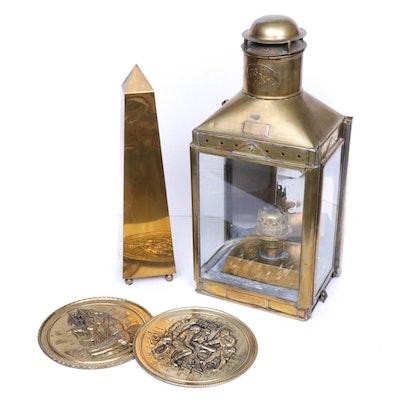 Brass Tone Lantern and Decor, Early 20th Century