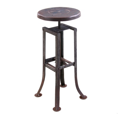 Steel Industrial Stool, Mid-20th Century