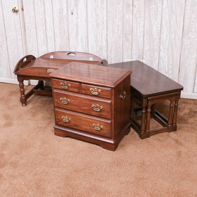 Butler's Coffee Table, Oak Nesting Tables and Hammary End Table, circa 1980's