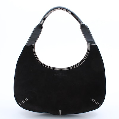 Salvatore Ferragamo Black Suede and Leather Handbag with Contrast Stitching