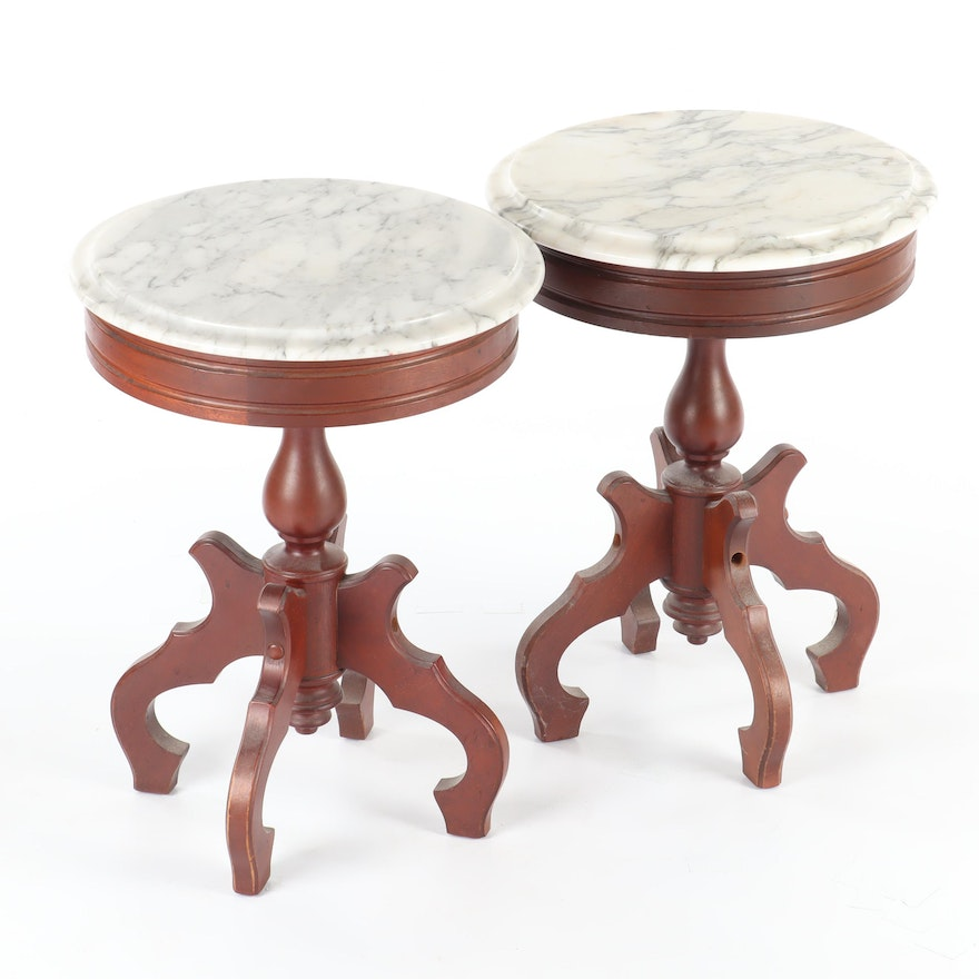 Italian MDC Marble Top Mahogany Side Tables
