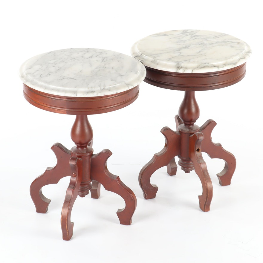 Italian MDC Marble Top Mahogany Side Tables