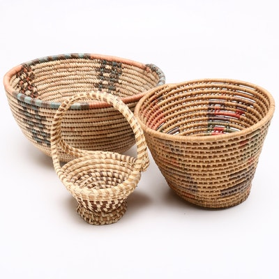 Papago Style Woven Coiled Baskets and Pine Needle Handled Basket
