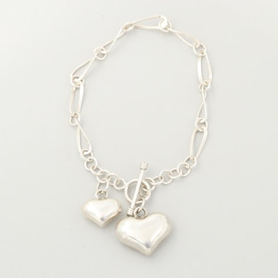 Sterling Silver Link Bracelet with Heart Charms