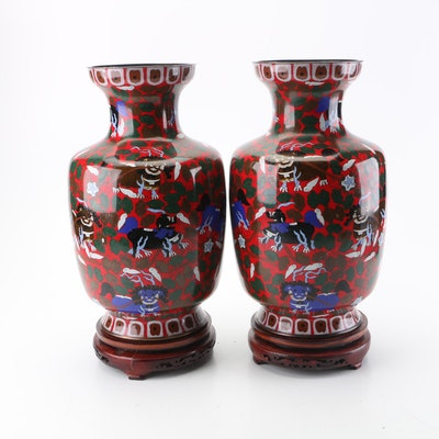 Chinese Cloisonné Vases with Wooden Bases