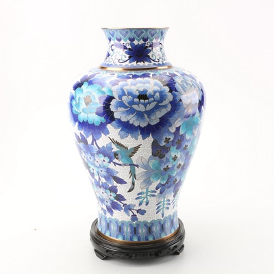 Chinese Cloisonné Vase with Carved Hardwood Stand