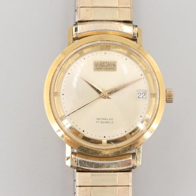 Vintage Vulcain Centenary 18K Yellow Gold and Gold Tone Wristwatch