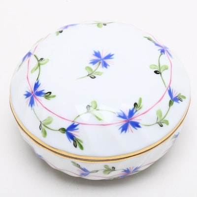 "Herend Hungary Hand Painted Porcelain ""Blue Garland"" Lidded Trinket Box"