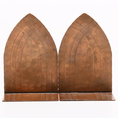 Arts and Crafts Hammered Copper CCV Vermont Bookends