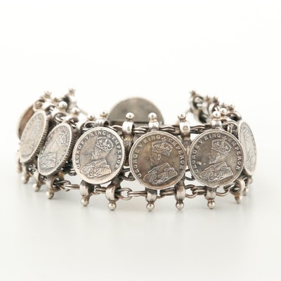 Sterling Silver Bracelet with Reproduction Silver Indian Rupee Coins