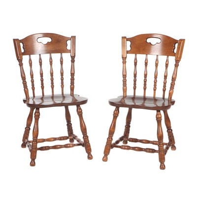 Pair of Colonial Style E.R. Buck Maple Side Chairs, 1970s