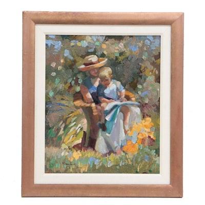 "Sally Rosenbaum Figural Oil Painting ""My Mom and Me"""
