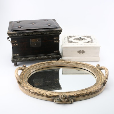 Decor Boxes and Mirrored Tray