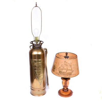 Converted Brass and Copper General Fire Truck Corp Extinguisher Lamp and More