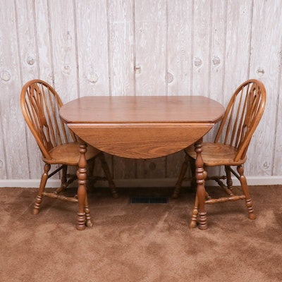 Oak Drop Leaf Dining Table and Two Chairs, Late 20th Century