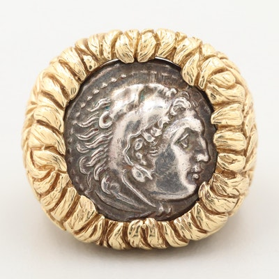 "18K Gold Ring with Reproduction of Alexander ""The Great"" Silver Tetradrachm Coin"