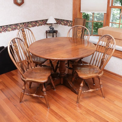 Oak Dining Table and Chairs, Vintage