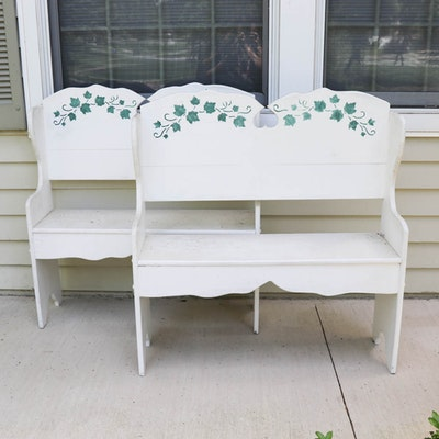 Hand-Painted Wooden Accent Benches, Set of Two