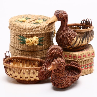 Woven Lidded Baskets and Figural Water Fowl Baskets