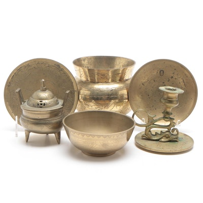 Brass Tableware, Candle Holder and Incense Burner, Late 20th Century