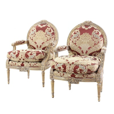 Louis XVI Style Upholstered and Gilt Accent Armchairs, Late 20th Century
