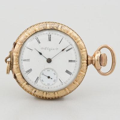 Antique Elgin 14K Gold Filled Open Face Pocket Watch, 1898
