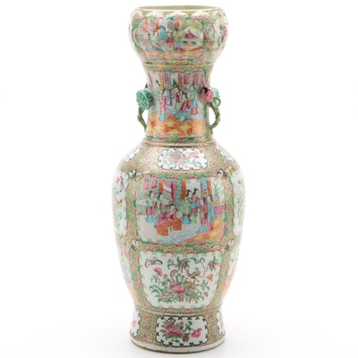 Chinese Rose Medallion Ceramic Vase with Lotus Handles