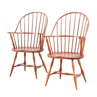 David T. Smith Poplar and Hickory Sack-Back Windsor Armchairs, Late 20th Century