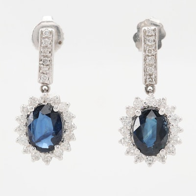 14K White Gold 2.50 CTW Sapphire and 0.92 CTW Diamond Earrings