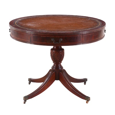 Regency Style String-Inlaid Mahogany Drum Table, Circa 1940