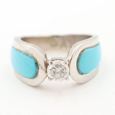 14K White Gold Diamond and Turquoise Ring