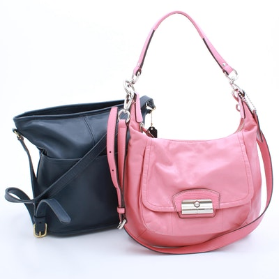 Coach Kristin Pink Leather Hobo and Legacy Navy Leather Duffle Shoulder Bags