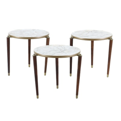Mid Century Modern Nested Walnut and Laminate Side Tables