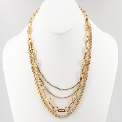 Louis Vuitton Gold Tone Mixed Chain Necklace