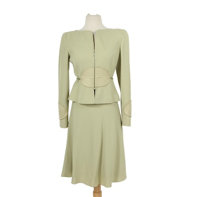 Valentino Celadon Skirt Suit with Quilted Silk Accents & Silk Rope Belt