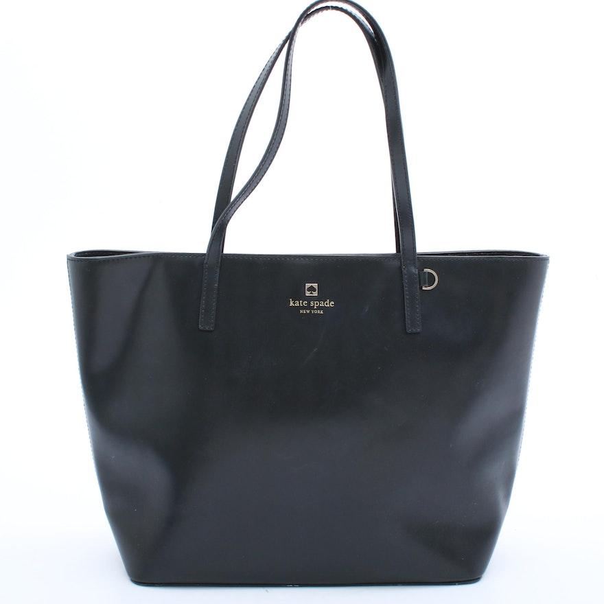 Kate Spade New York Black Leather Tote Bag