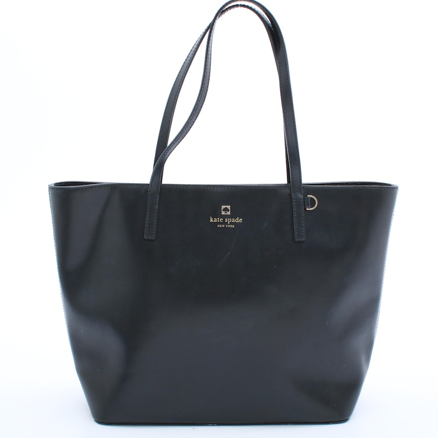 Kate Spade New York Black Leather Tote Bag