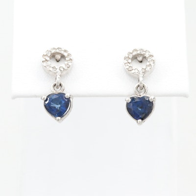 14K White Gold Blue Sapphire and Diamond Drop Earrings