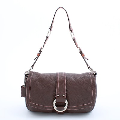 Coach Brown Pebbled Leather Hobo Bag