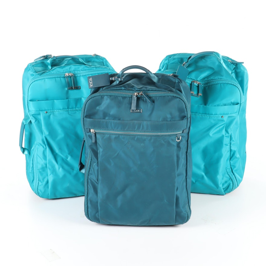 Tumi Blue Nylon Wheeled Backpack Luggage in Turquoise and Teal