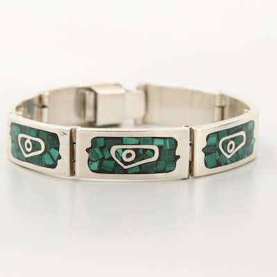 Mexican Sterling Silver Malachite in Resin Inlay Bracelet