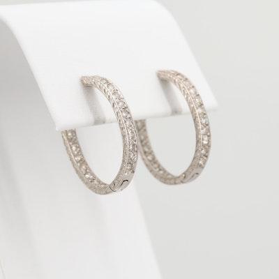 18K White Gold 1.04 CTW Diamond Inside Out Hoop Earrings