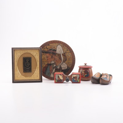 "French Decorative Boxes, Miniature Clogs, and ""R. Bolloré"" Cigarette Label"