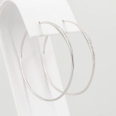 Jordan Schilanger 18K White Gold Diamond Hoop Earrings