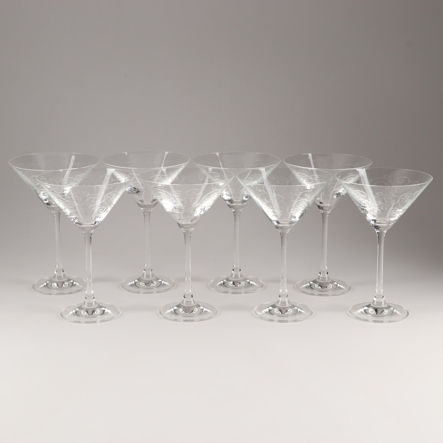 Etched Scroll Motif Martini Glasses, Late 20th Century