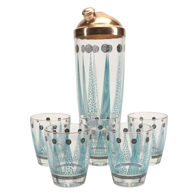 Mid Century Modern Cocktail Shaker and Old Fashioned Glasses
