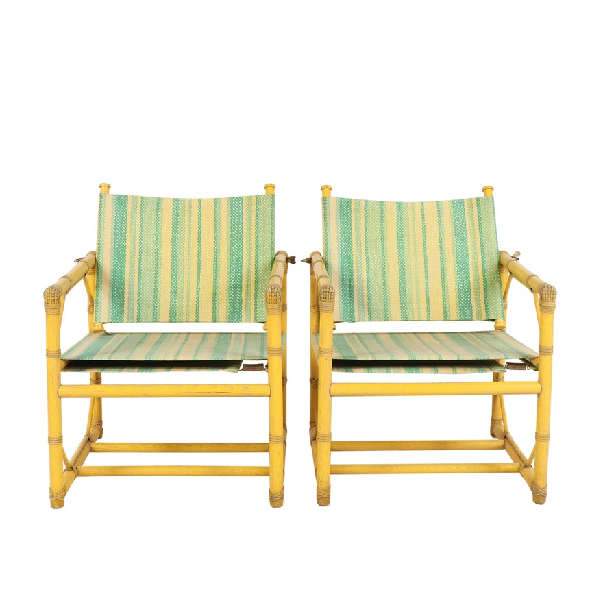 Excellent Mcguire Furniture Yellow And Green Rattan Patio Chairs Mid Century Ncnpc Chair Design For Home Ncnpcorg