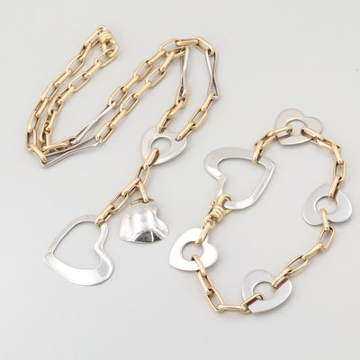 14K Yellow and White Gold Heart Linked Necklace and Bracelet