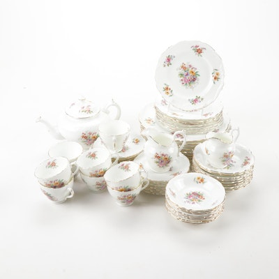 "Coalport ""Fragrance"" Gilded Edge Bone China, Service for 8"